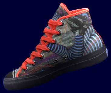 High top Ked tennis shoe with image of Inline Skater in striped tights on the ground