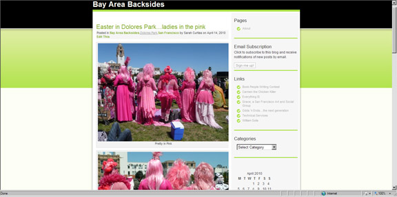 Photo of the backsides of Sisters of Perpetual Indulgence dressed in pink for Easter in San Francisco